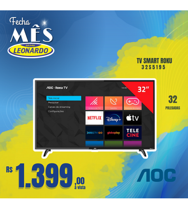 TV AOC 32P 32S5195 SMART ROKU AOC